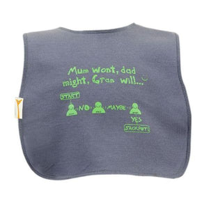 Grey Mum Wont Dad Might Gran Will Square Bib