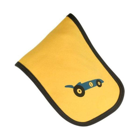 Yellow & Blue Racing Car Burp Cloth