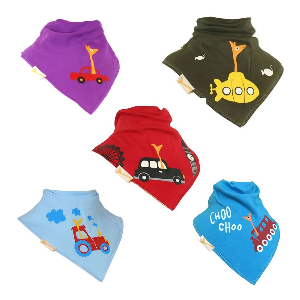 George on the Move Funky Giraffe Bandana Bibs (Set of 5)