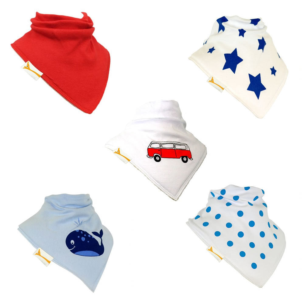 Bold Boys Set of Funky Giraffe Bandana Bibs (Set of 5)