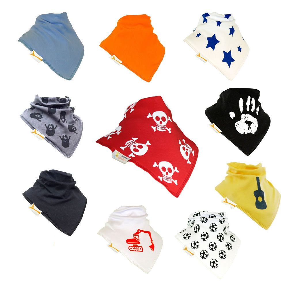 Bouncing Boys Set of Funky Giraffe Bandana Bibs (Set of 10)