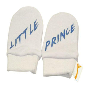 White & Blue Little Prince Scratch Mittens