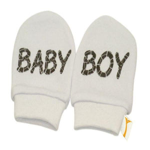 White & Brown Baby Boy Scratch Mittens