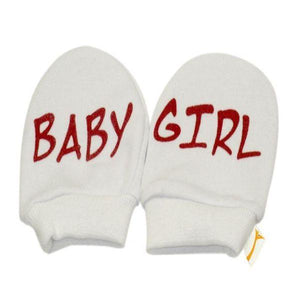 White & Red Baby Girl Scratch Mittens