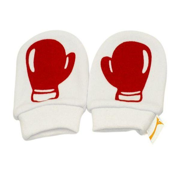 White & Red Boxing Gloves Scratch Mittens