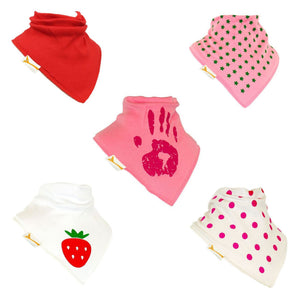 Pink Girly Set of Funky Giraffe Bandana Bibs (Set of 5)