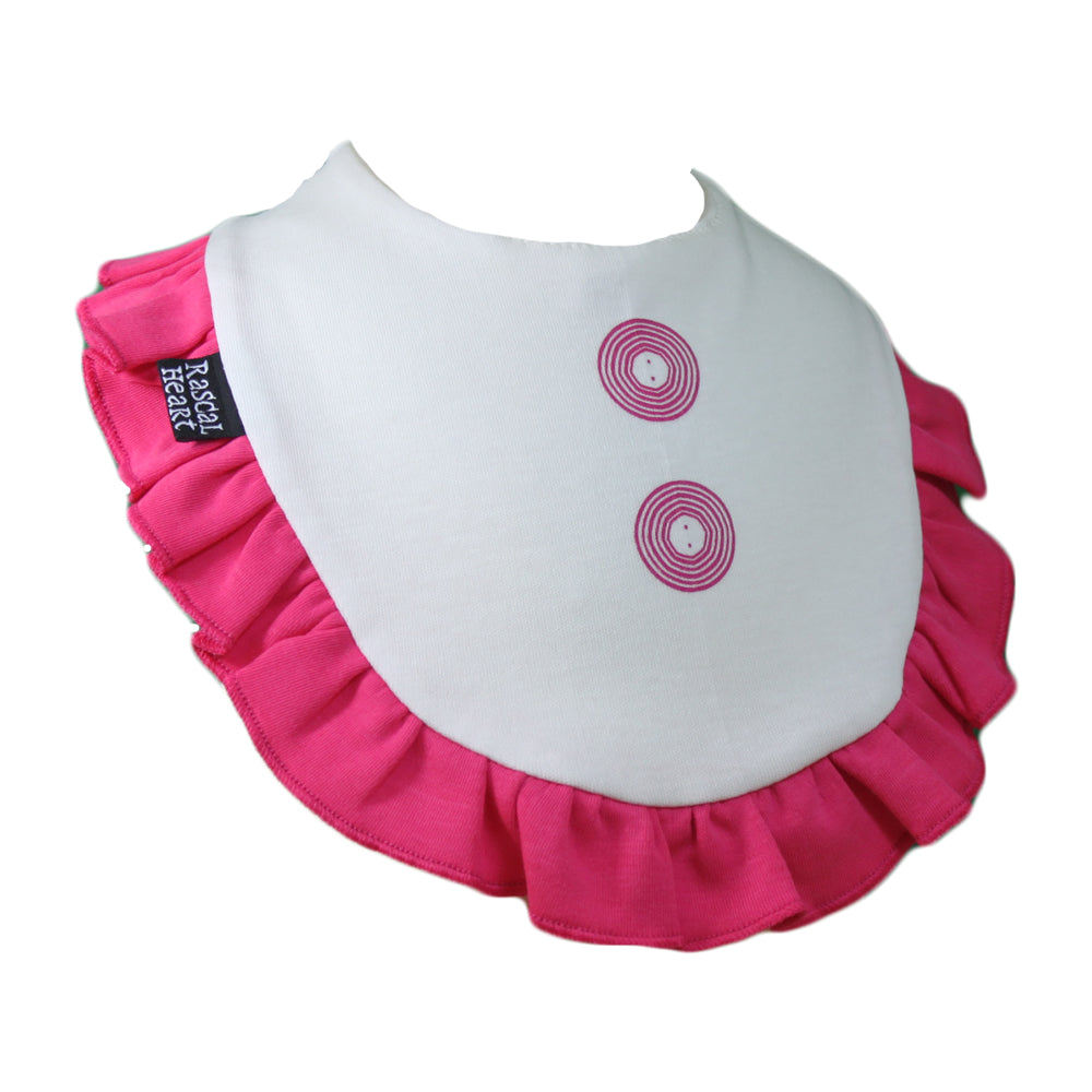 White & Pink Frilly Rascal Heart Bib