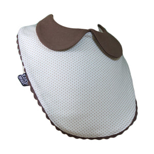 White & Brown Small Dots Rascal Heart Bib