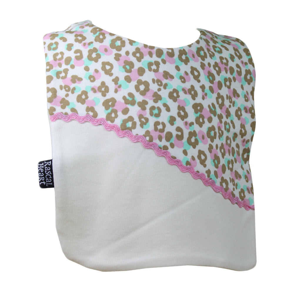 Leopard Print on White Rascal Heart Bib