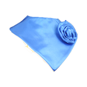 Sky Blue Beautiful Satin Applique Rose Flower Swirl Bib