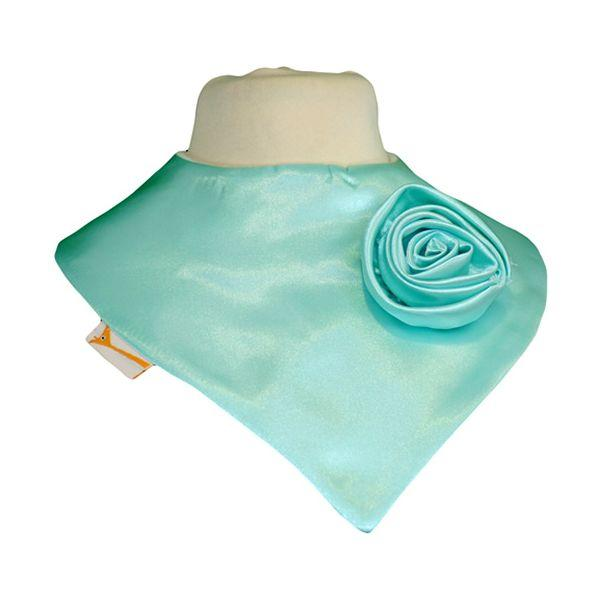 Bright Teal Applique Swirl Satin Bib