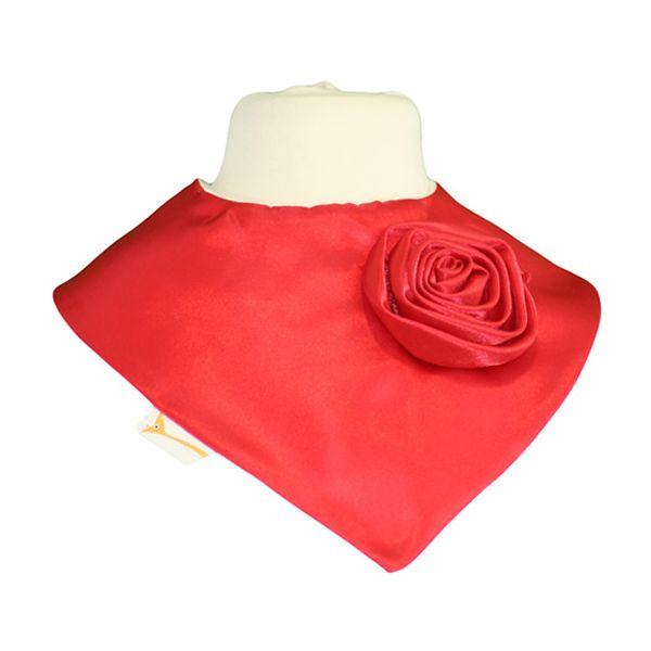 Red Satin Applique Rose Flower Swirl Bib