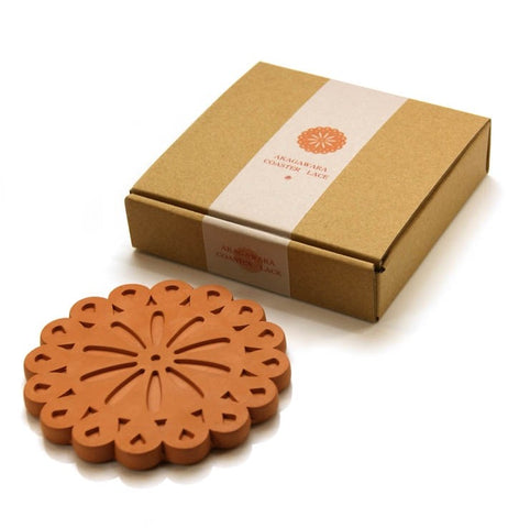 Okinawa Clay Coaster (Flower A) | Absorbent Saver and Clay Coasters, Made from Self-dry Okinawa Clay by roof tile crafters