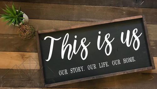This is us, handpainted rustic sign