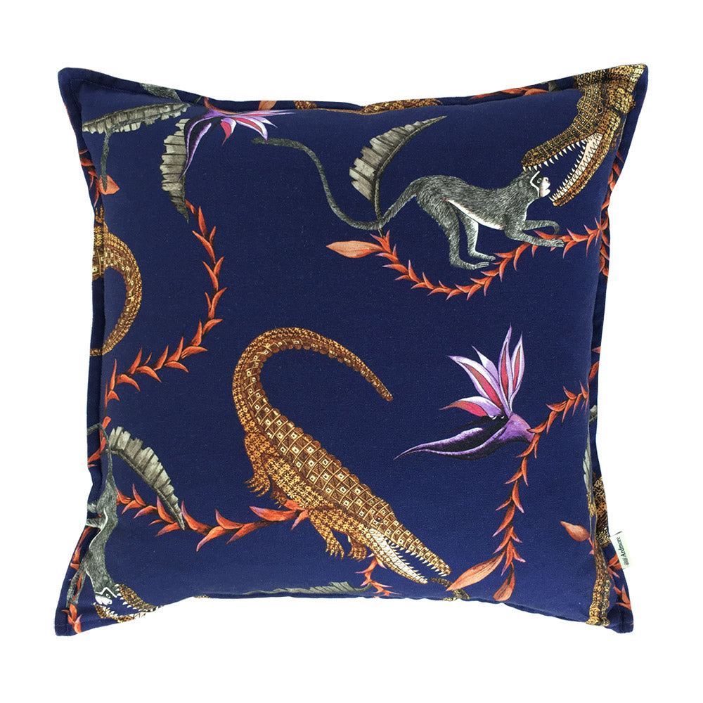 River Chase Royal Linen Cushion Cover