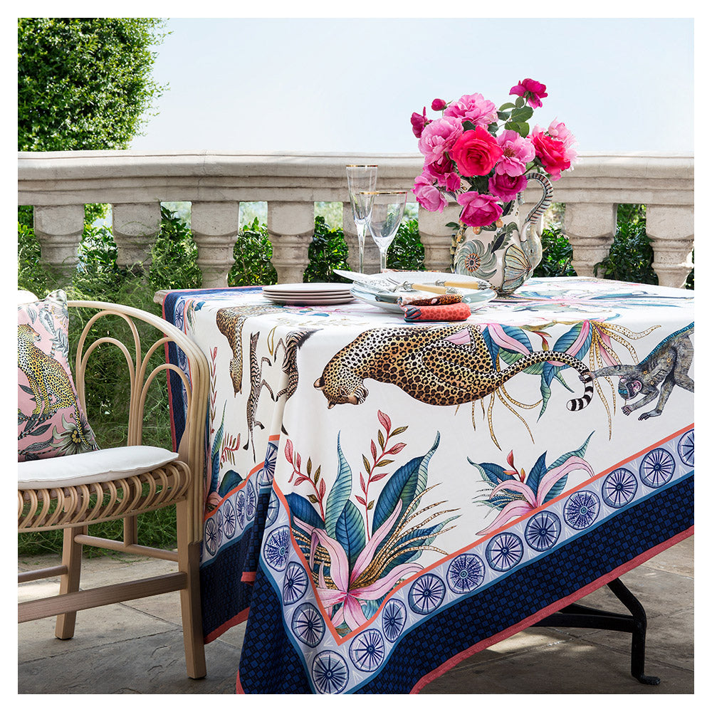 Leopard Lily Tablecloth in Frost