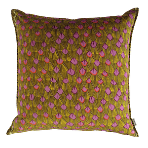 Feather Chartreuse Velvet Cushion Cover