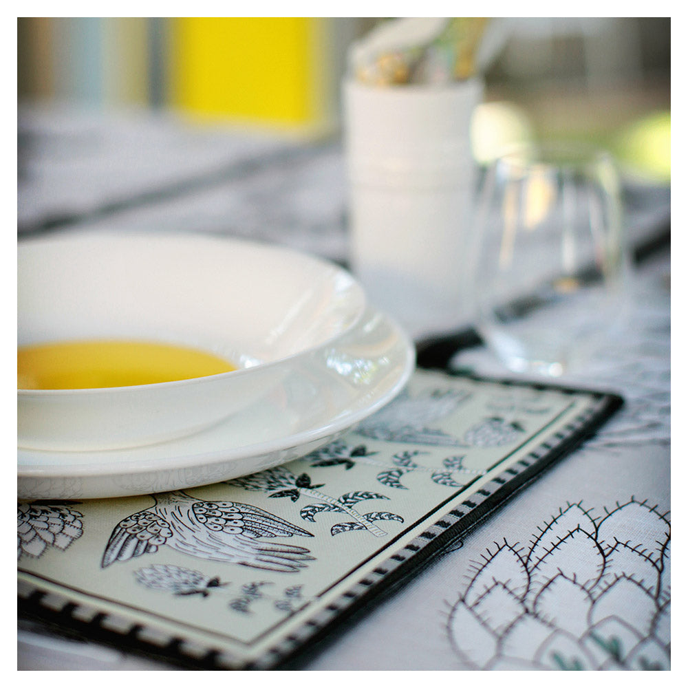 Bird Fynbos Placemats Charcoal (pair)