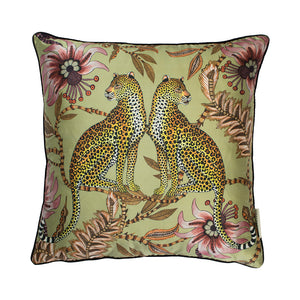 Lovebird Leopard Delta Silk Cushion Cover