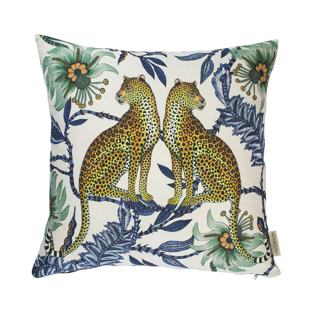 Lovebird Leopard Tanzanite Silk Cushion Cover