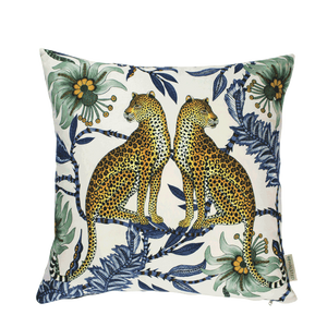 Lovebird Leopards Tanzanite Cushion Cover
