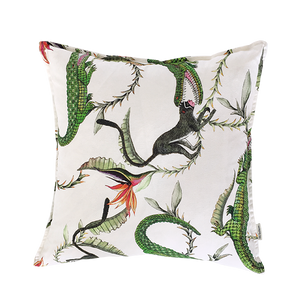 River Chase River Green Linen Cushion Cover