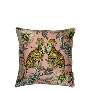 Lovebird Leopards Magnolia Silk Cushion Cover