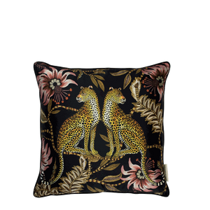 Lovebird Leopards Night Silk Cushion Cover