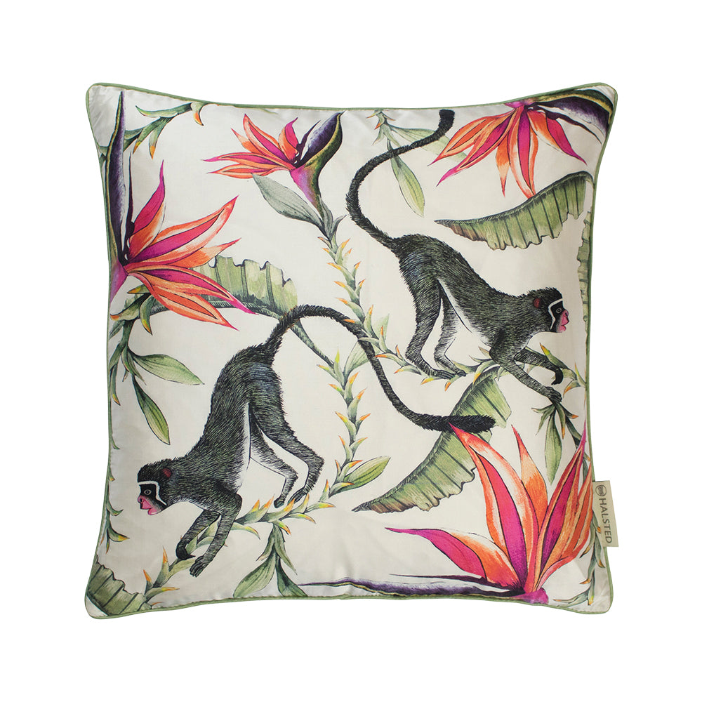Monkey Paradise Chalk Silk Cushion Cover