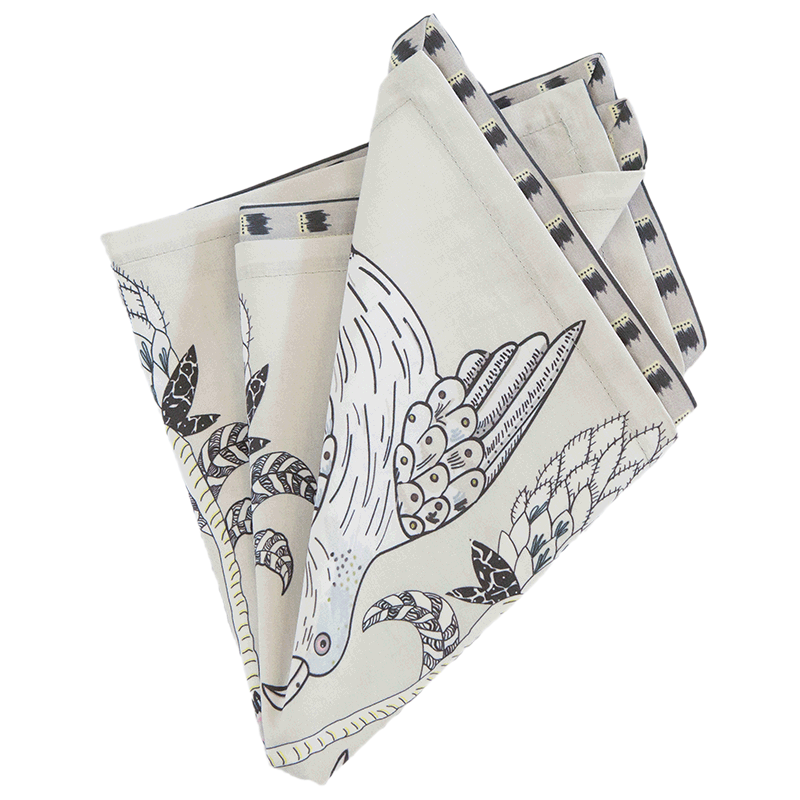 Bird Crossing Napkins Charcoal (pair)