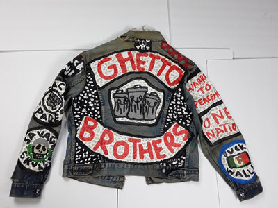 """Ghetto Brothers"" Men's Large Denim Jacket"