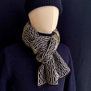 ADMIRAL SCARF - ECRU/NAVY/YELLOW
