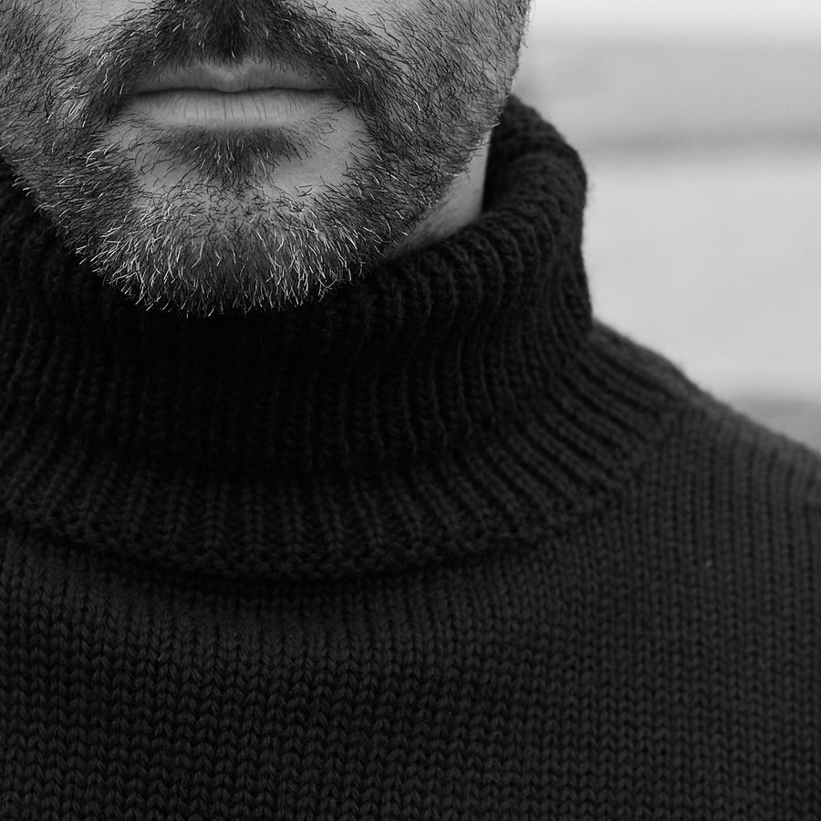 North Sea Clothing black diver roll neck jumper