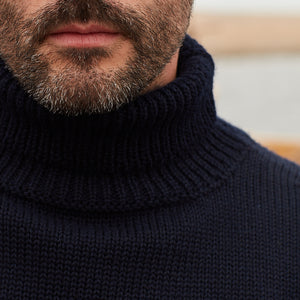 North Sea Clothing navy diver roll neck jumper