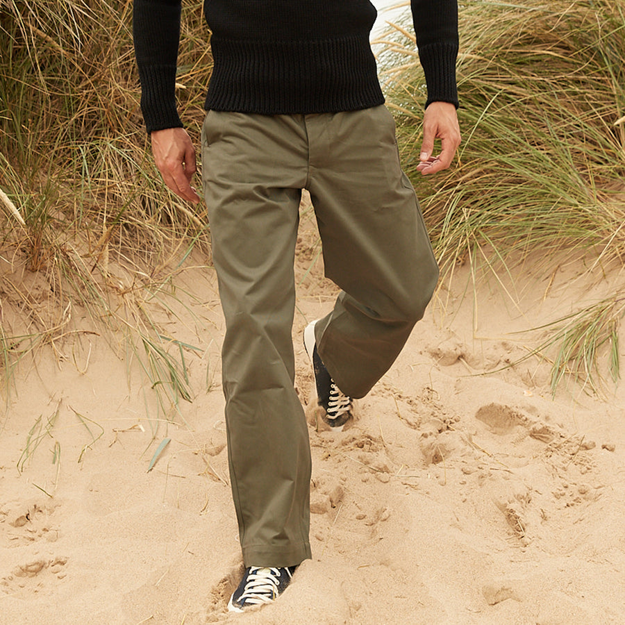 North Sea Clothing olive Canadian chino style trouser