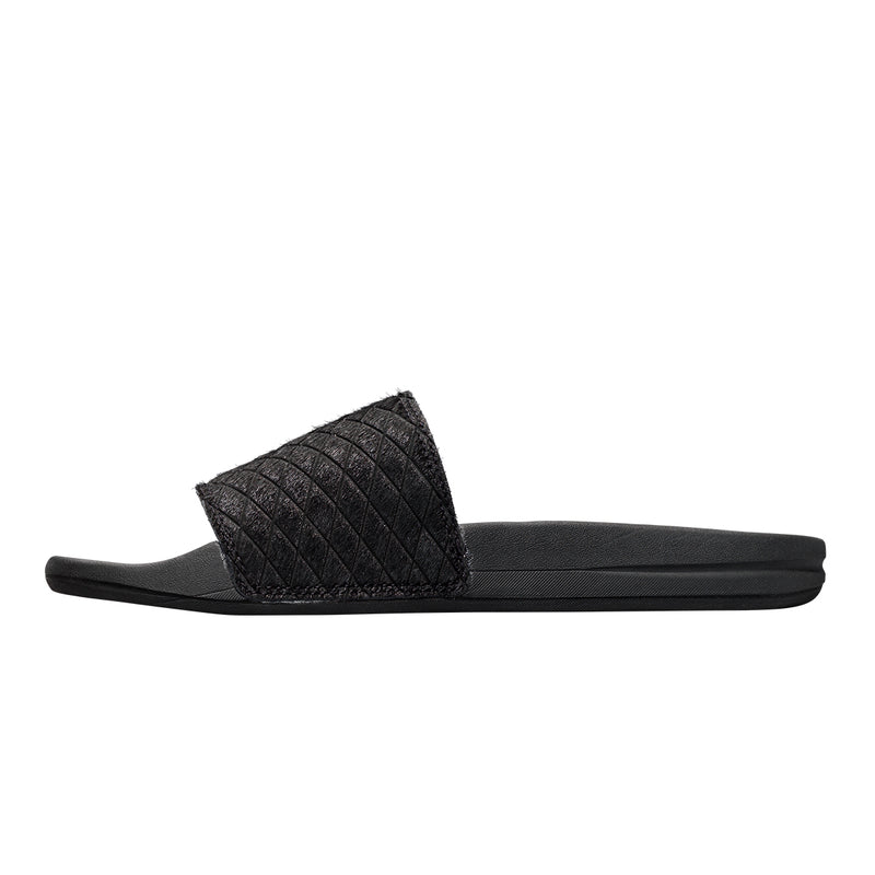 Men's Iconic Calf Hair Slide Quilted Black