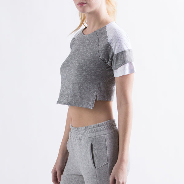 Women's The Perfect Crop Top  Grey Melange / White