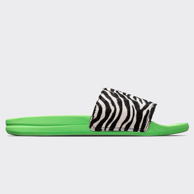 Women's Iconic Calf Hair Slide Neon Green / Zebra