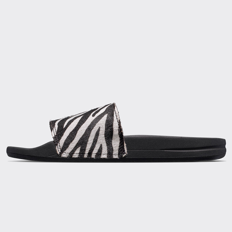 Women's Iconic Calf Hair Slide Zebra