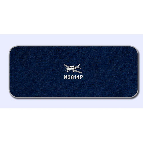 Navy Carpet with Grey Binding, logo and tail number embroidery