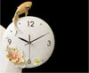 Modern Resin Embossed Fish Flower Wall Clock for Home Decor - 9