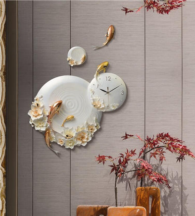 Modern Resin Embossed Fish Flower Wall Clock for Home Decor