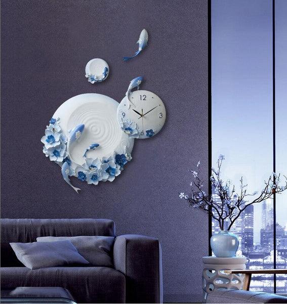 Modern Resin Embossed Fish Flower Wall Clock for Home Decor - 1