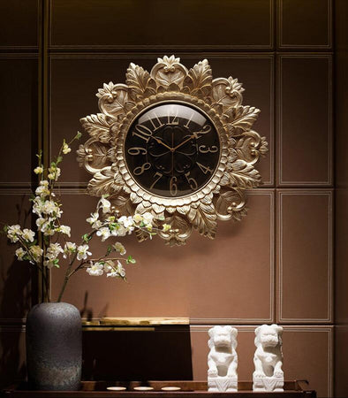 Resin Unique Look Embossed Wall Clock for Home and Living Room