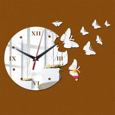 Butterfly Sticker Mirror Wall Clocks