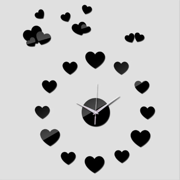 3D Hearts Wall Clock Sticker