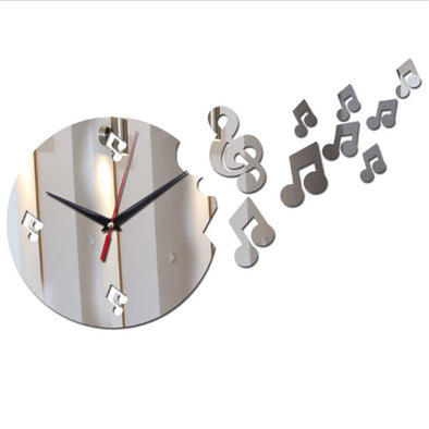Musical 3D Mirror Wall Clock Sticker