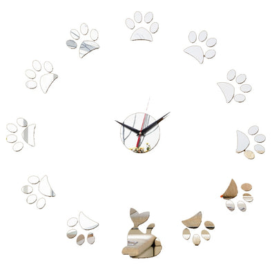 3D Cat Kitty Wall Clock Sticker