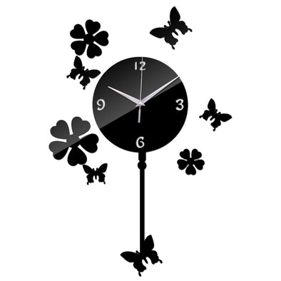 Butterfly DIY Acrylic Mirror Wall Clock Sticker