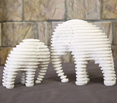 Striped Elephant Mother & Son Statuettes